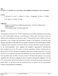 In Science we (should) trust: expectations and compliance during the Covid-19 pandemic